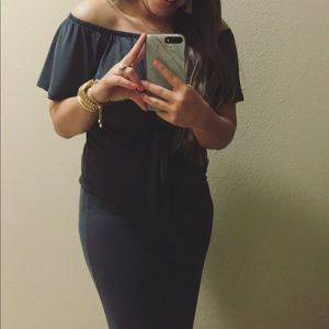 Promesa off the shoulder black dress